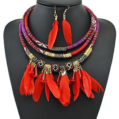 Žene Viseće naušnice Ogrlica U obliku pletenice dame Vintage afrički Perje Naušnice Jewelry Crn / Crvena / Plava Za Izlasci Festival 1set