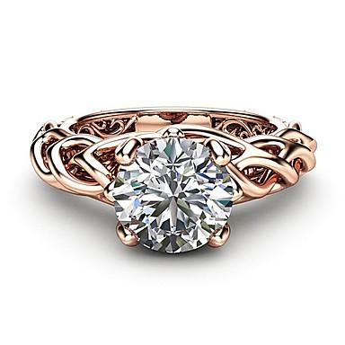 Žene Prsten Dijamant Kubični Zirconia 1pc Rose Gold Kamen Pozlata od crvenog zlata Imitacija dijamanta Četiri drška dame Umjetnički pomodan Vjenčanje Party Jewelry životno stablo Lijep