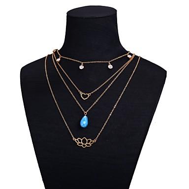 Žene slojeviti Ogrlice Klasičan Srce Cvijet dame Umjetnički Legura Zlato 45 cm Ogrlice Jewelry 1pc Za Dar Festival