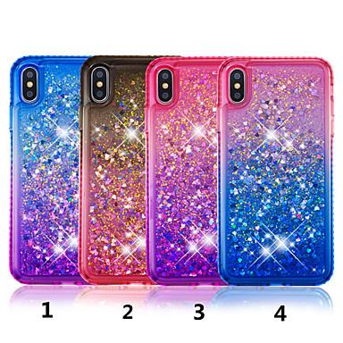 voordelige iPhone 6 hoesjes-hoesje Voor Apple iPhone XS / iPhone XR / iPhone XS Max Strass / Stromende vloeistof / Doorzichtig Achterkant Kleurgradatie Hard TPU