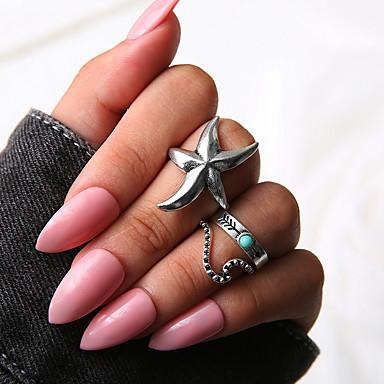 Žene Prstenasti set Prsten za više prstiju Midi prstenje Tirkiz 3pcs Srebro Smola Legura dame Jedinstven dizajn Vintage Dar Dnevno Jewelry Retro morska zvijezda Arrow Cool