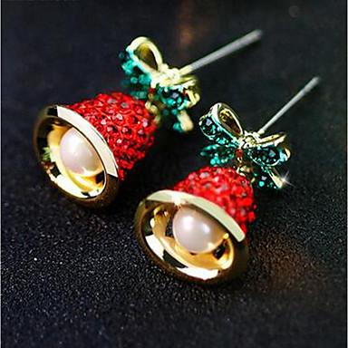 Žene Sitne naušnice 3D Zvono dame Stilski Klasik Imitacija bisera Umjetno drago kamenje Naušnice Jewelry Zlato Za Božić Dnevno 1 par