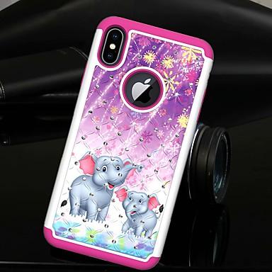 Недорогие Кейсы для iPhone 6-Кейс для Назначение Apple iPhone XS / iPhone XR / iPhone XS Max Стразы / Полупрозрачный Кейс на заднюю панель Животное / Слон Твердый ТПУ / ПК