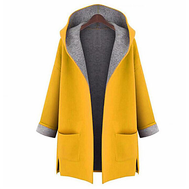 cheap Women's Outerwear-Women's Going out Street chic Fall Plus Size Long Coat, Solid Colored Hooded Long Sleeve Polyester Yellow / Red