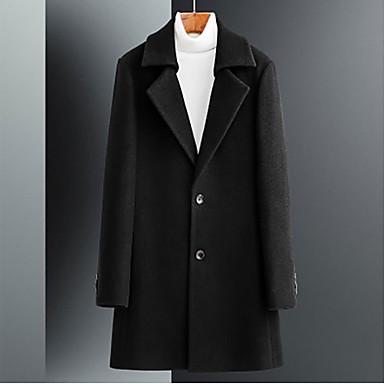 Muškarci Dnevno Jesen zima Veći konfekcijski brojevi Dug ogrtač, Jednobojni Rolled collar Dugih rukava Poliester Crn / Slim
