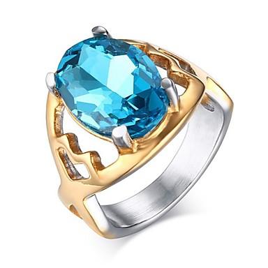 Žene Plav Akvamarin Stog simuliran Prsten Titanium Steel dame Korejski Modno prstenje Jewelry Svjetloplav Za Dar Praznik 5 / 6 / 7 / 8