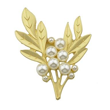 Žene Biseri Broševi Tropical Leaf Shape dame Jednostavan Osnovni Biseri Broš Jewelry Zlatan Za Spoj Rad