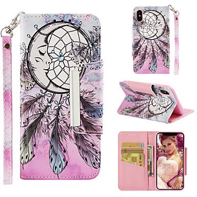 Недорогие Кейсы для iPhone 7 Plus-Кейс для Назначение Apple iPhone XS / iPhone XR / iPhone XS Max Кошелек / Бумажник для карт / со стендом Чехол Ловец снов / Цветы Твердый Кожа PU