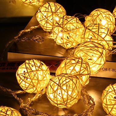 5m Žice sa svjetlima 40 LED diode Toplo bijelo Ukrasno AA baterije su pogonjene 1set