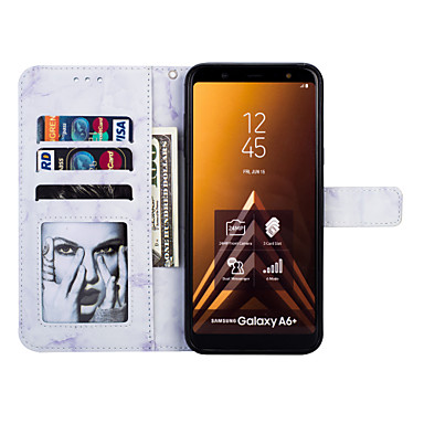 Θήκη Za Samsung Galaxy J8 (2018) / J7 (2017) / J6 Novčanik / Utor za kartice / sa stalkom Korice Mramor Tvrdo PU koža