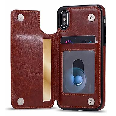 Θήκη Za Apple iPhone XS / iPhone XR / iPhone XS Max Utor za kartice / sa stalkom Stražnja maska Jednobojni Mekano PU koža
