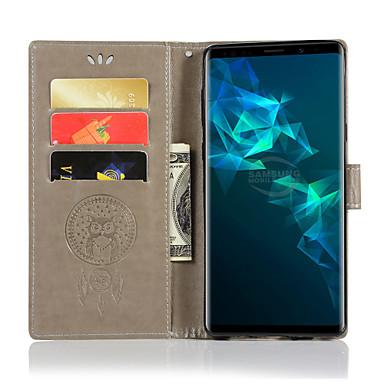 Недорогие Чехлы и кейсы для Galaxy Note-Кейс для Назначение SSamsung Galaxy Note 9 / Note 8 / Note 5 Кошелек / Бумажник для карт / со стендом Чехол Сова Твердый Кожа PU