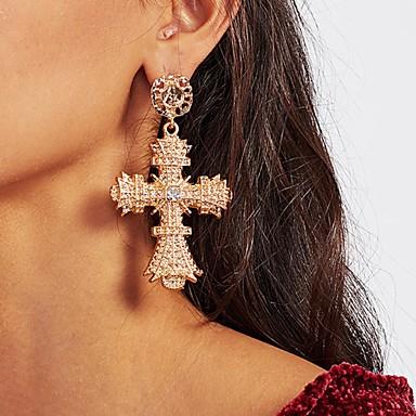Žene Viseće naušnice Klasičan Kereszt dame Klasik Umjetno drago kamenje Naušnice Jewelry Zlato Za Dnevno 1 par