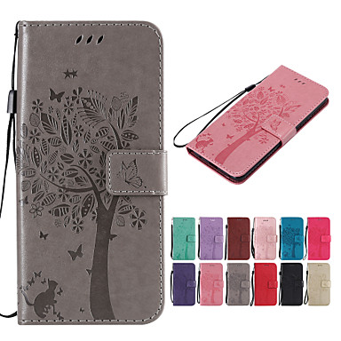cheap Galaxy A5 Cases / Covers-Case For Samsung Galaxy A8 Plus 2018 / A8 2018 Wallet / Card Holder / with Stand Full Body Cases Solid Colored / Cat / Tree Hard PU Leather for A6 (2018) / A6+ (2018) / A7(2018)