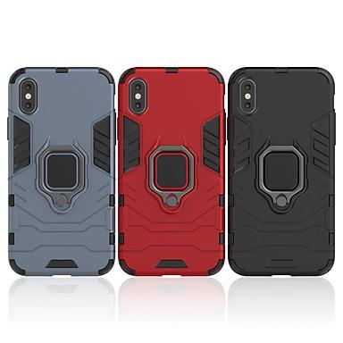 Недорогие Кейсы для iPhone-Кейс для Назначение Apple iPhone X Защита от удара / Кольца-держатели Кейс на заднюю панель Однотонный / броня Твердый ПК