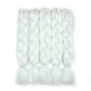 ieftine Extensii de Păr-Panglici de păr croșetate Jumbo Împletituri de cutie Gri Închis Negru Păr Sintetic 24 inch Păr de Împletit  5 Piese