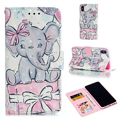Недорогие Кейсы для iPhone 7 Plus-Кейс для Назначение Apple iPhone XS / iPhone XR / iPhone XS Max Кошелек / Бумажник для карт / со стендом Чехол Животное / Слон Твердый Кожа PU