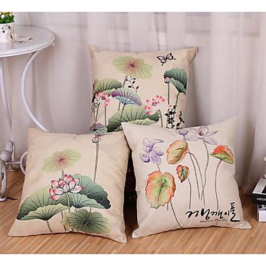 3 kom Pamuk / Posteljina Modern / Comtemporary Jastučnica, Cvjetni print Copaci / Frunze Cvijetni print Priroda Pastoral Style