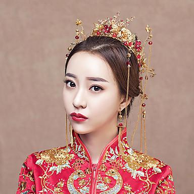 Nevjesta Cvijetan Clasic Tradicionalno Kineski stil Šeširi Kopče za kosu Svadbeni nakit Setovi čelo kruna Za Djevojačka večer Svadba Žene Djevojčice Nakit odjeće
