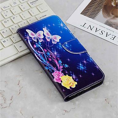 رخيصةأون حافظات / جرابات هواتف جالكسي J-غطاء من أجل Samsung Galaxy J6 (2018) / J6 Plus / J4 (2018) محفظة / حامل البطاقات / مع حامل غطاء كامل للجسم فراشة قاسي جلد PU