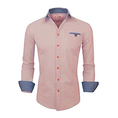 رخيصةأون قمصان رجالي-رجالي عمل الأعمال التجارية / أساسي كتان قميص, لون سادة / كم طويل