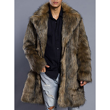 Недорогие Мужская одежда-Муж. Пальто с мехом Длинная Однотонный Повседневные Классический Длинный рукав Искусственный мех Коричневый S / M / L