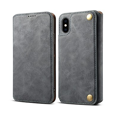 Θήκη Za Apple iPhone XS / iPhone XR / iPhone XS Max Utor za kartice / Otporno na trešnju / sa stalkom Korice Jednobojni Tvrdo PU koža