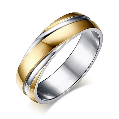 cheap Band Rings-Men's Band Ring Groove Rings 1pc Gold Titanium Steel Simple Gift Holiday Jewelry Classic Two tone