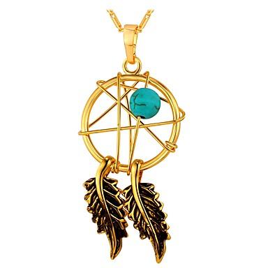 Žene Zelen Tirkiz Ogrlice s privjeskom Hvatač snova dame Moda Kamen Zlato Pink 55 cm Ogrlice Jewelry 1pc Za Dar Dnevno