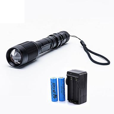 رخيصةأون مصابيح اليد-UltraFire LED Flashlights 2000 lm LED LED 1 بواعث 5 إضاءة الوضع مع البطاريات والشاحن زوومابلي Adjustable Focus Camping / Hiking / Caving Everyday Use السفر أسود / معدن الألمنيوم
