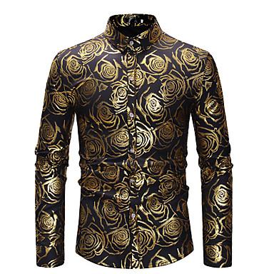 Majica Muškarci - Luksuz / Osnovni Dnevno / Vikend Pamuk Geometrijski oblici / Color block Print Crn / Dugih rukava