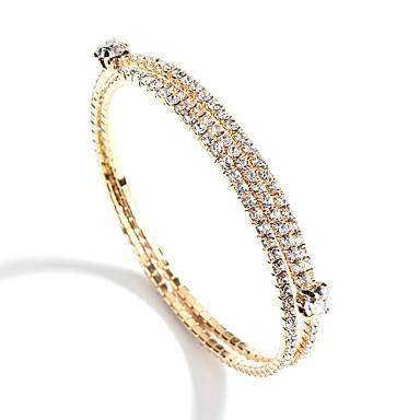Žene Više slojeva Nakit za gležanj Tenis Narukvice Umjetno drago kamenje dame Europska Moda Elegantno Narukvice Jewelry Zlato / Pink Za Party Angažman