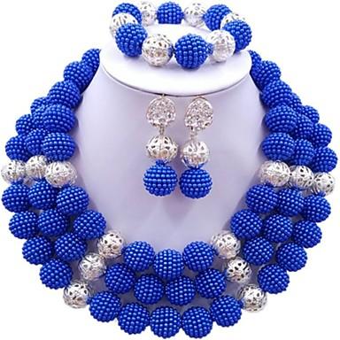 Žene Strands Ogrlica Više slojeva dame Moda Naušnice Jewelry Dark Blue / Crvena / Jarko ružičasto Za Vjenčanje