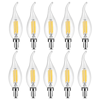 ieftine Becuri LED-YWXLIGHT® 10pcs 4 W Becuri LED Lumânare Bec Filet LED 300-400 lm E14 C35 4 LED-uri de margele COB Intensitate Luminoasă Reglabilă Alb Cald Alb 220-240 V