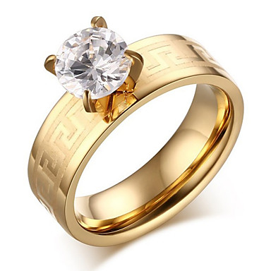 Žene Vedro Kubični Zirconia Stog Prsten Titanium Steel dame Kinezerije Modno prstenje Jewelry Zlato Za Dar 6 / 7 / 8 / 9