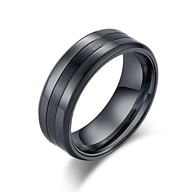 Muškarci Band Ring Prsten Prstenovi za utore 1pc Crn Srebro Volfram čelik nehrđajući Stilski Osnovni pomodan Rođendan Dar Jewelry Klasičan Cool