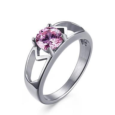 Žene Pink Kubični Zirconia Pasijans simuliran Prsten Titanium Steel dame Korejski Modno prstenje Jewelry Pink Za Dar Dnevno 6 / 7 / 8