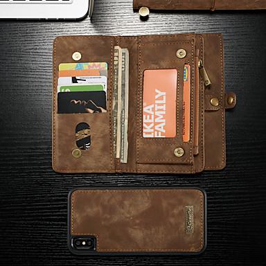 voordelige iPhone-hoesjes-hoesje Voor Apple iPhone XS Max Portemonnee / Kaarthouder / met standaard Volledig hoesje Effen Hard PU-nahka