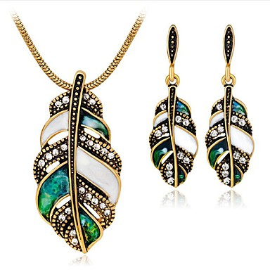 Žene Bijela Kubični Zirconia Vintage ogrlica Vintage Style Leaf Shape dame Vintage Naušnice Jewelry Zlato / Pink Za Party Dnevno 1set