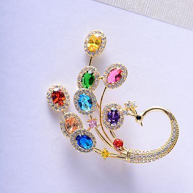 Žene Kubični Zirconia Broševi Klasičan Duga Paun dame Korejski Boja Svaki dan Pozlaćeni Austrijski kristal Broš Jewelry Zlato Za Ulica