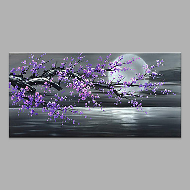 cheap Wall Art-Oil Painting Hand Painted - Abstract Floral / Botanical Modern Rolled Canvas
