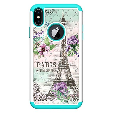 voordelige iPhone 7 hoesjes-hoesje Voor Apple iPhone XS / iPhone XR / iPhone XS Max Strass / Patroon Achterkant Landschap / Eiffeltoren Hard PU-nahka