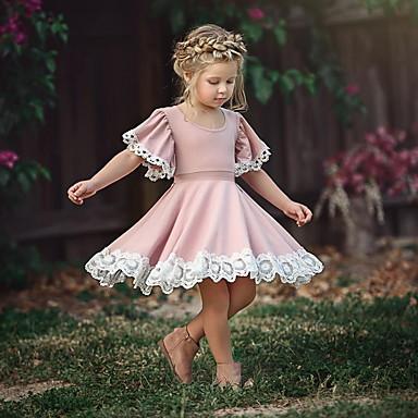 povoljno Odjeća za djevojčice-Dijete koje je tek prohodalo Djevojčice slatko Party Dusty Rose Cvijet Čipka Kratkih rukava Haljina Blushing Pink