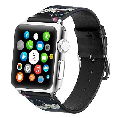 رخيصةأون قيود ساعات-جلد أصلي حزام حزام إلى Apple Watch Series 4/3/2/1 أسود / الأصفر 23CM / 9 بوصة 2.1cm / 0.83 Inches
