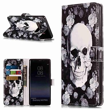 Недорогие Чехлы и кейсы для Galaxy Note-Кейс для Назначение SSamsung Galaxy Note 9 / Note 8 Кошелек / Бумажник для карт / со стендом Чехол Черепа Твердый Кожа PU