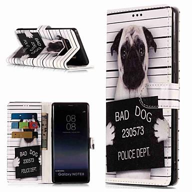 Недорогие Чехлы и кейсы для Galaxy Note-Кейс для Назначение SSamsung Galaxy Note 9 / Note 8 Кошелек / Бумажник для карт / со стендом Чехол С собакой Твердый Кожа PU