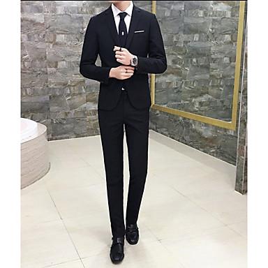halpa Miesten bleiserit ja puvut-Miesten Suits Normaali Yhtenäinen Päivittäin Pluskoko Pitkähihainen Musta / Rubiini / Khaki S / M / L / Liiketoiminta muodollinen / Ohut