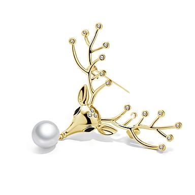 Žene Kristal Broševi Klasičan Jelen dame Korejski Biseri Umjetno drago kamenje Glina Broš Jewelry Zlato Pink Za Božić / Pozlaćeni