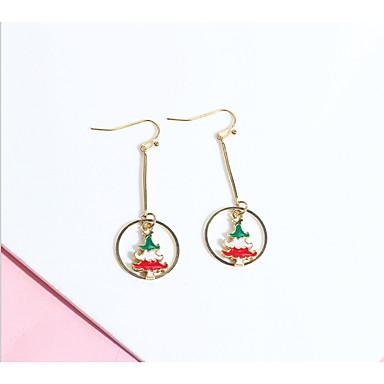 Žene Naušnica Long Los Božićno drvce dame Jednostavan Europska Moda Naušnice Jewelry Crno Zlato / Crvena / Zelen Za Božić Dar 2pcs