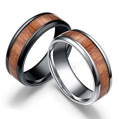 رجالي عصابة الفرقة 1PC أسود فضي خشبي الفولاذ المقاوم للصدأ خشب Circle Shape بسيط زفاف مناسب للبس اليومي مجوهرات قديم / الخشب الطبيعي